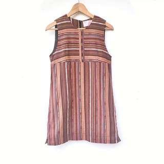 Vintage ::: 民俗感圖騰無袖背心可愛古著洋裝