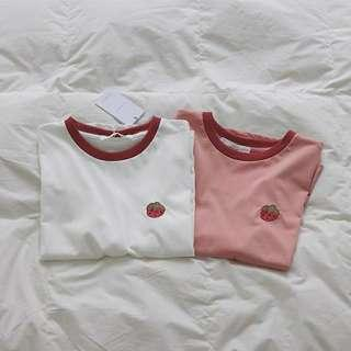 """[PO] round collar """"strawberry"""" embroidered top"""