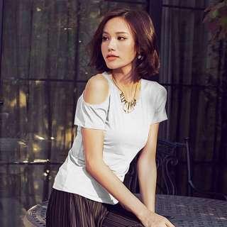 Round neck Slim cotton wild short-sleeved T-shirt
