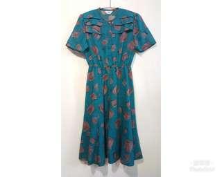 《壓箱寶》二手古著 藍綠復古方塊短袖洋裝