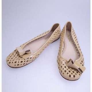 PRADA enamel flat shoes - beige