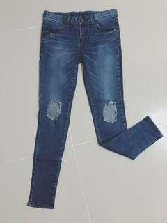 🚚 破壞牛仔褲 破洞 牛仔長褲 27腰