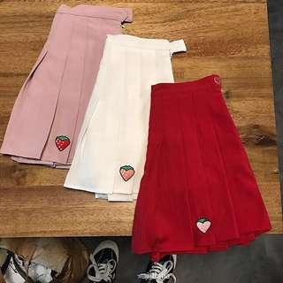 """[PO] Korean style """"strawberry"""" embroidered pleated skirt"""