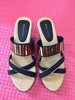Sepatu Wedges gold bling-bling fladeo