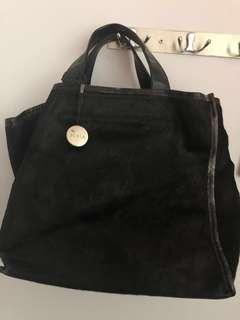 Furla Classic Black Faux Fur Handbag Vintage