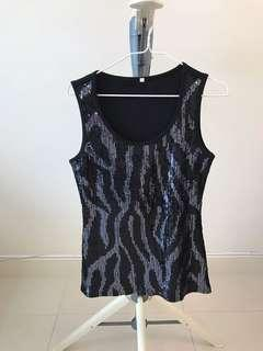 Women's cotton knitted sequins top
