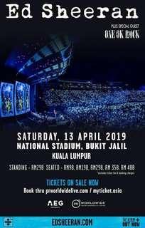 ED Sheeren 13th April 2019 - 2 Standing Zone Tickets