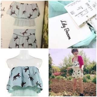 🚚 二手極新轉賣日本專櫃品牌lily brown水藍色貓咪套裝 連身褲