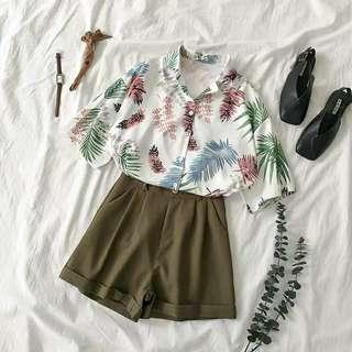 [PO] leaves button up short sleeve top