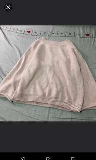 🚚 捲邊粉色寬袖毛衣