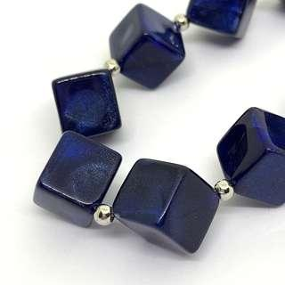 星空藍 方塊 頸鍊
