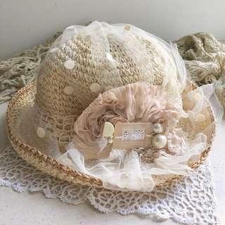 🈹手作米白SA Sa lace草帽👒👒