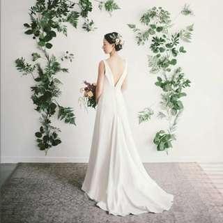 Simple Satin Wedding/ Solemnization/ ROM dress