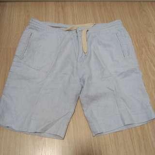 男裝淺灰色棉麻短褲