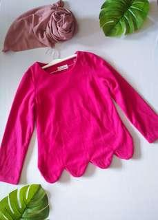 Pink suede scallop top #APR75