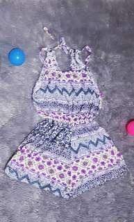 Floral jumpsuit - baju pantai (preloved)