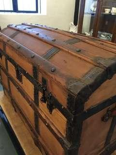 Authentic Antique Victorian Dome Top Pirates Sea Chest (1837-1901) Imported from UK