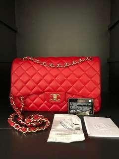 Chanel Classic Jumbo Red Lambskin with Matt GHW.