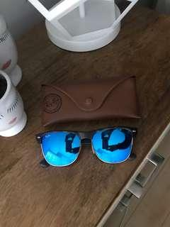 Ray-Ban Clubmaster with blue flash lenses