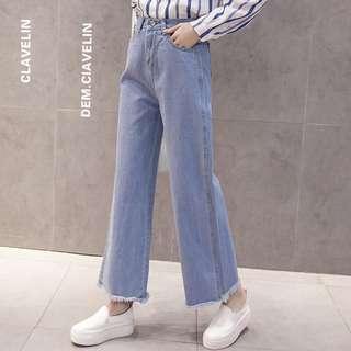 🚚 Cherry 高腰寬鬆闊腿褲 牛仔褲 寬褲