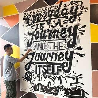Typography Lettering mural Art service