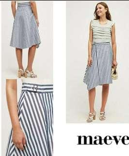 stripes midi skirt with belt detail