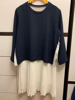 深籃色白色雪紡連身裙(番工斯文款)