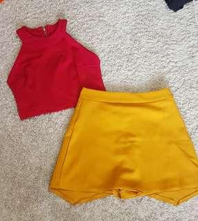 Faith set    Red crop halter top zip up back and Korean ulzzang mustard skirt with safety shorts/skorts