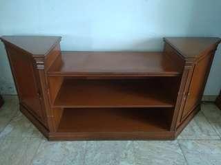 Meja TV kayu Solid rangka Jati