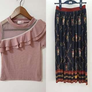 Brand New Set - Pleated Rose Skirt + Dusty Top