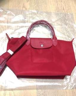 100%new longchamp le pliage neo top handle red 紅 厚款 斜揹