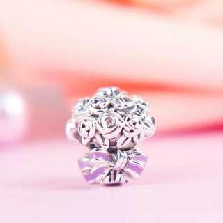 Code SS861 - Celebration Bouquet Flowers 100% 925 Sterling Silver Charm, Chain Is Not Included, Compatible With Pandora