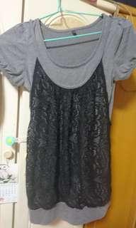 女裝上身衫(假2件)通花M碼