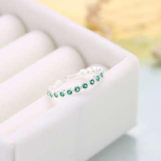 Emerald Stud Infinity Size Adjustable 925 Silver Ring