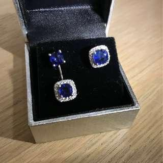 Asymmetrical Blue Sapphire Cushion Earrings with Diamonds in White Gold