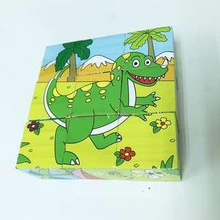 9 Building Block 6 sided Wisdom Jigsaw, Montessori Toys Children Early Educational Learning Toys Tangram Children Game 9pcs Single 3D Puzzle with wooden tray- Dinosaur