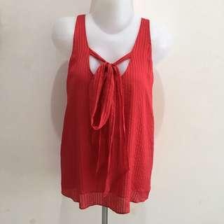 Club Monaco Red Silk Textured Bow Top (Branded) (Atasan Wanita) (Best Deal)