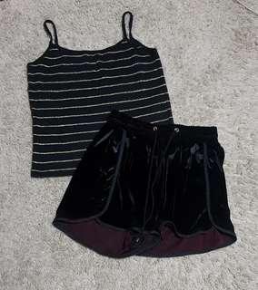 Mandy set    Striped black and gold cami top and Black velvet runner shorts