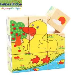 9 Building Block 6 sided Wisdom Jigsaw, Montessori Toys Children Early Educational Learning Toys Tangram Children Game 9pcs Single 3D Puzzle with wooden tray- Farm Animal