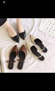 二手 咖啡色韓風尖頭包鞋涼鞋 38碼