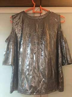 *BRAND NEW W/ TAG* silver shiny cold shoulder top