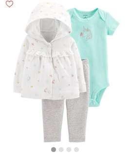 BN Carters Baby Girl Unicorn Hooded Jacket Pants Romper Set 9mths!