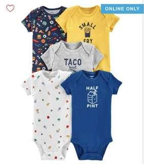 BN Carters Baby Boy Half Pint Set of 5 Rompers Bodysuits 9mths avail!