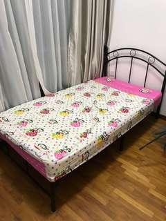 Super Single Metal Bedframe with Mattress