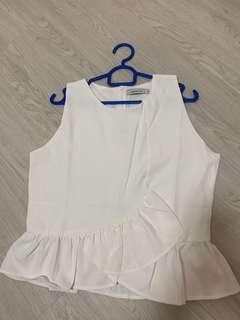 BN Another One White Peplum sleeveless top