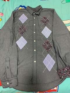 全新 izzue 灰色碎花條子併布恤衫 (new floral print stripe shirt)