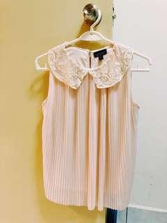 Topshop - Pink Pleated Blouse with Lace Collar