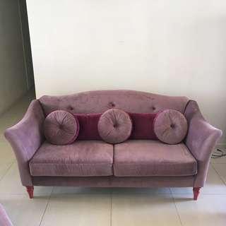 Beautiful Purple and Lilac Velvet Sofa