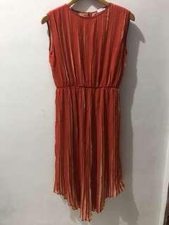 Mango Pleated Orange Dress
