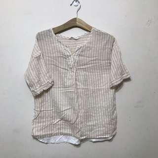 🚚 薄棉麻透氣短袖膚白色上衣